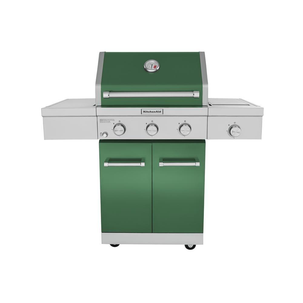 Kitchenaid 3 Burner Propane Gas Grill In Green With Ceramic Sear