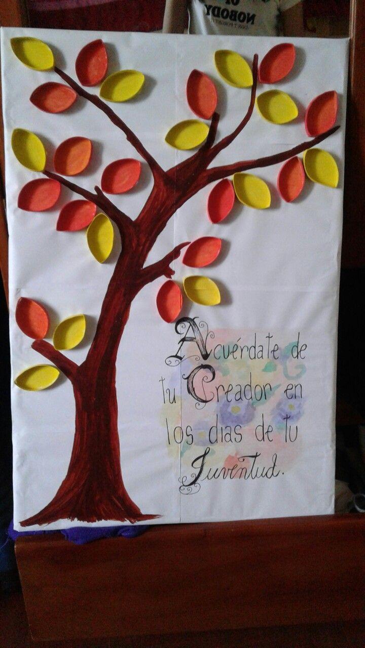 Decoracion, cuadro hecho de materiales reciclables, con rollos de carton :) versiculo usado eclesiastes 12:1 ...Acuerdate de tu creador en los dias de tu juventud.