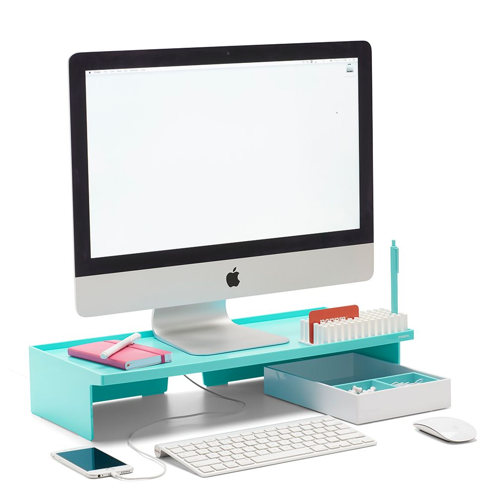 Poppin aqua monitor riser modern desk accessories cool office supplies workhappy aqua - Unique office desk accessories ...
