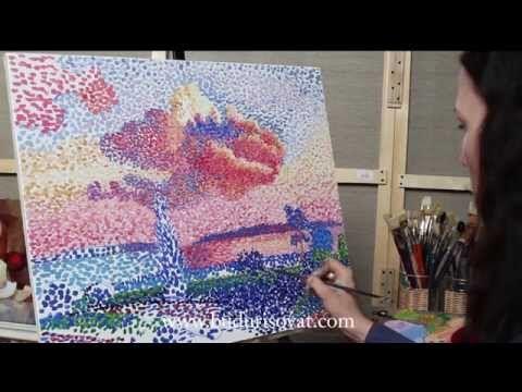 Уроки рисования. Как нарисовать ВЕСНУ гуашью ArtBerry (техника пуантилизм) - YouTube