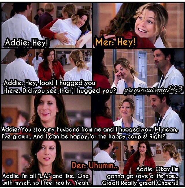 Awkward Addison And Meredith Hug Even Though Addison Has Now Idea