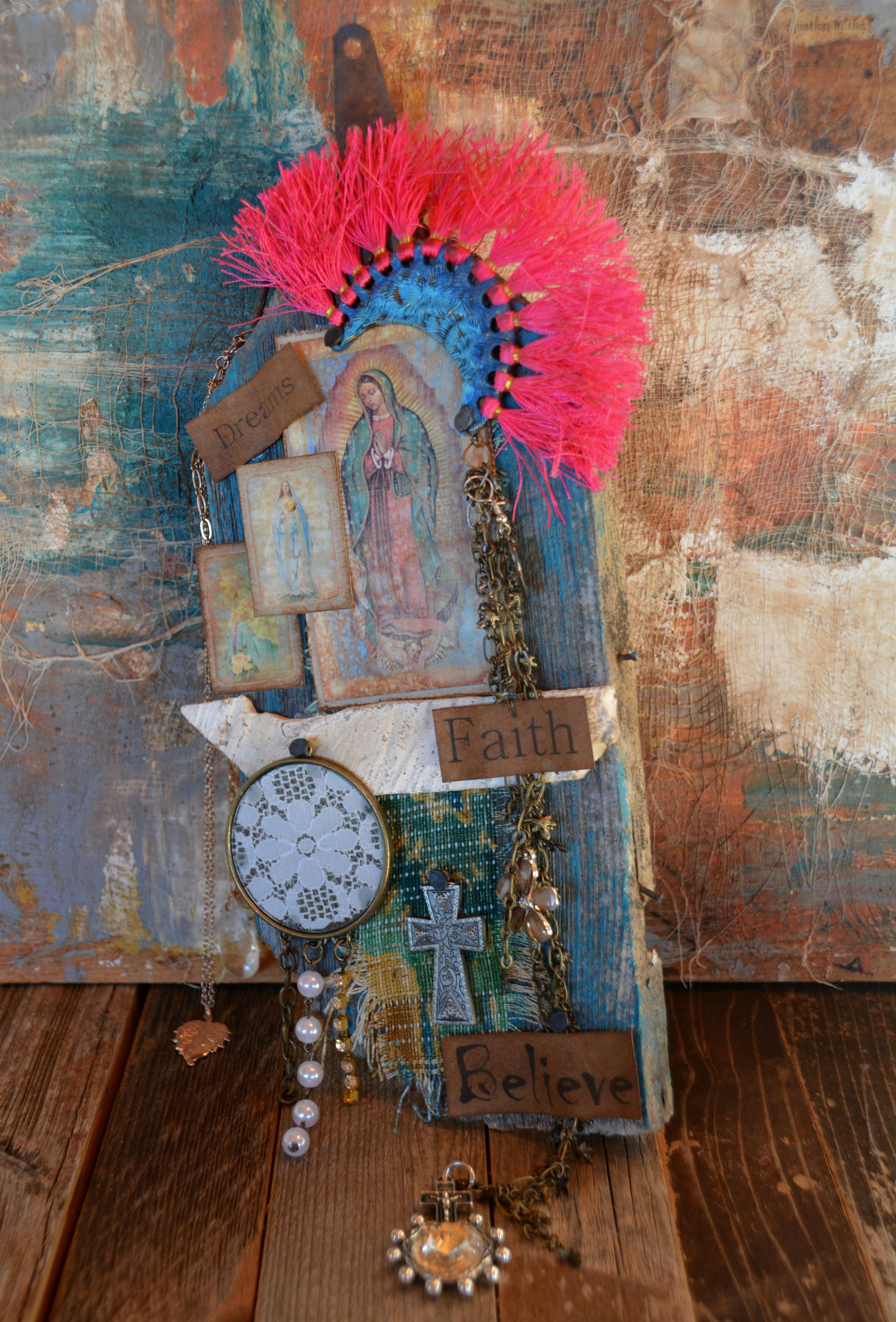 Virgen De Guadalupe- Milagro wall Shrine- By: Cuban artist- Lazaro Iglesias- Inquire for price...