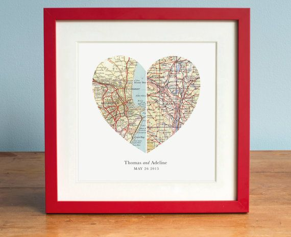The Perfect Gift For Any Couple His And Her Hometown Maps Create A New Heart Representing Their Togetherness Weddings Anniversaries