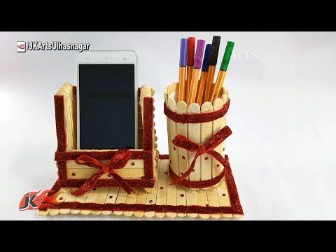 How To Make Mobile Phone Holder And Pen Stand Using Ice Cream Sticks