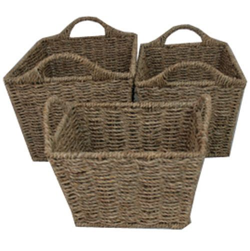 SEAGRASS WIRED WITH  HANDLES STORAGE KITCHEN GIFT HOME BASKETS IN THREE SIZES