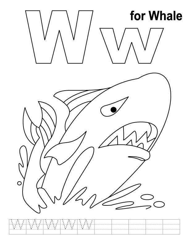 W For Whale Coloring Page With Handwriting Practice