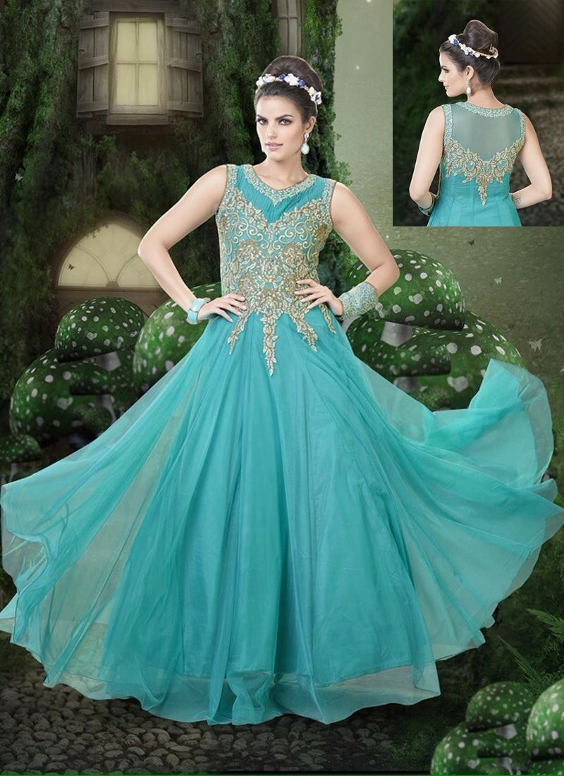 Beauteous turquoise blue net designer gown is designed with