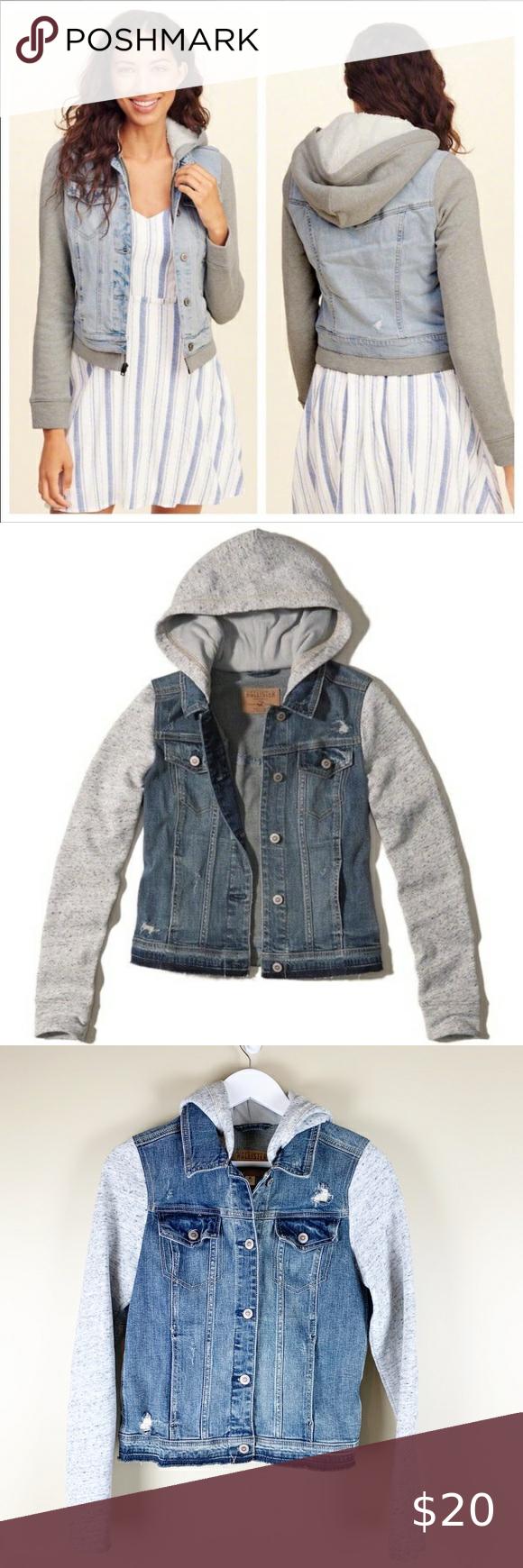 Hollister Sweatshirt Jean Jacket Excellent Preowned Condition Size Medium Hollister Jackets Sweatshirt Jean Jacket Destroyed Denim Jacket Cropped Black Jeans [ 1740 x 580 Pixel ]
