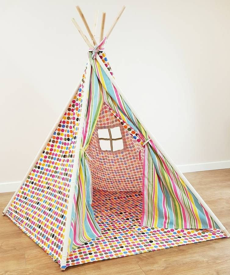 Beautiful multicoloured polkadot wigwam play tent for children. Kids play tent for indoor and outdoor  sc 1 st  Pinterest & Polkadot Wigwam | Childrens wigwam and Childrens play tents
