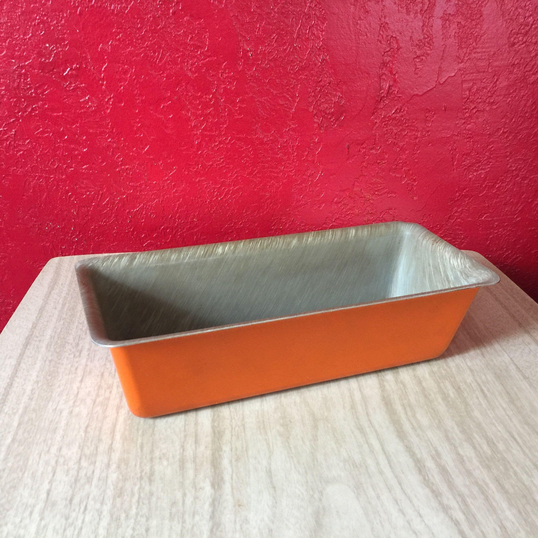 Bright Orange Vintage Brushed Aluminum Baking Pan