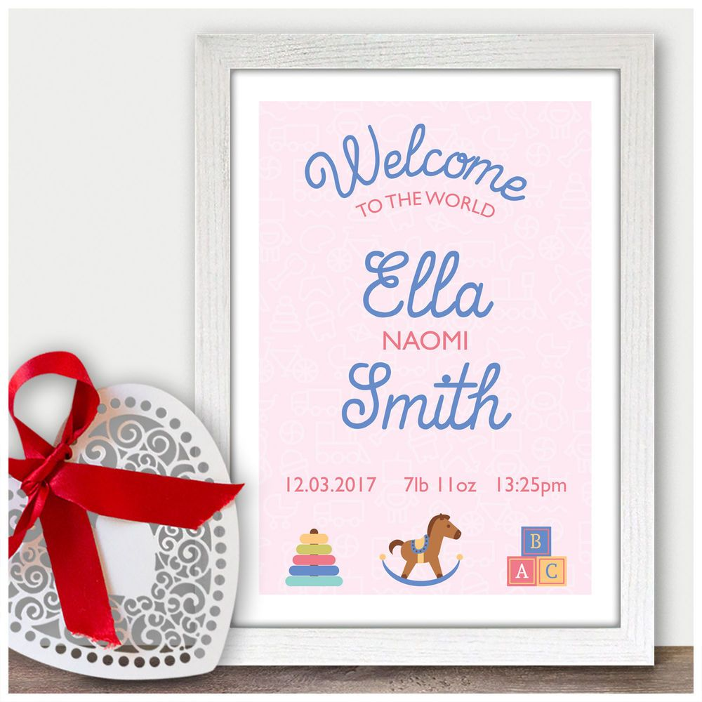 Personalised Welcome To The World Baby Girl Birth Announcement Nursery Gifts