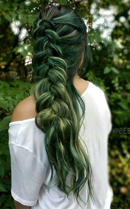 Noir,Vert Balayage Cheveux