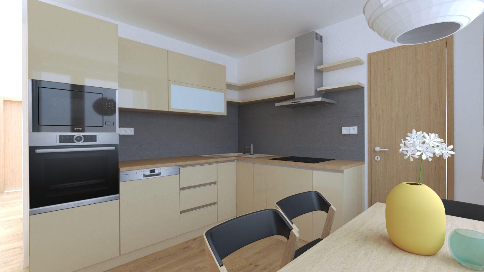 90ca249506755 Návrh kuchyne na mieru, kuchyňa v byte, moderná, sedenie pod oknom, béžová  so šedou. lakované skrinky.