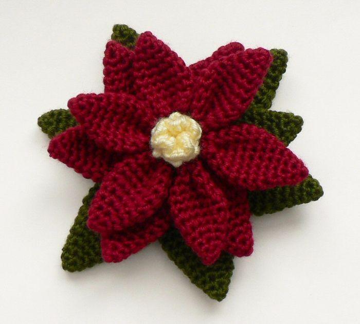 poinsettia_crocheted (700x630, 350Kb) | Flores con ganchillo ...