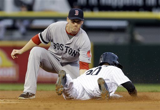 Boston Red Sox shortstop Stephen Drew, left, tags out Chicago White Soxs Alejandro De Aza during the first inning of a baseball game in Chicago, Wednesday, May 22, 2013. (AP Photo/Nam Y. Huh)
