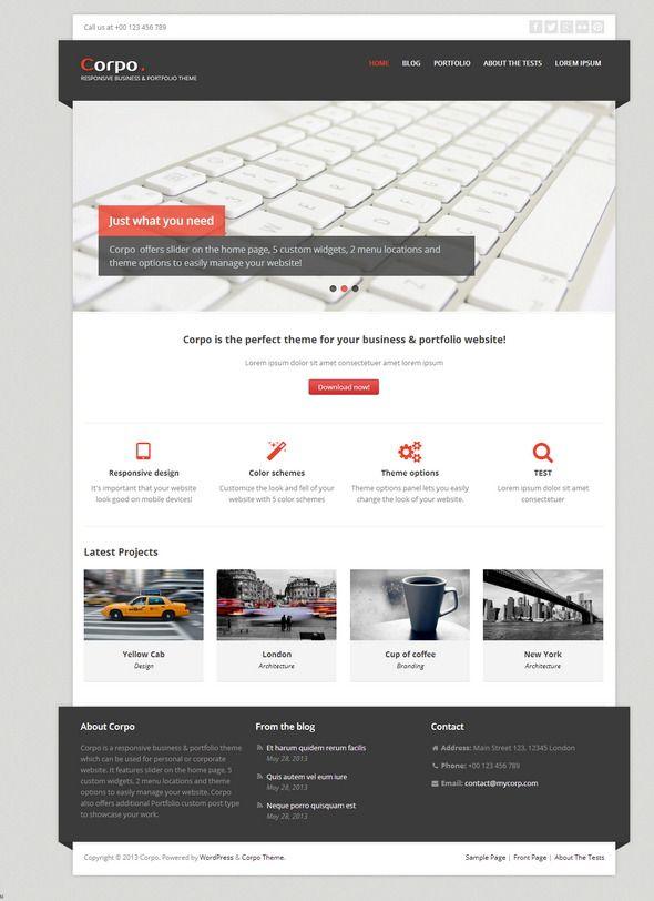 Corpo Responsive business portfolio theme | blog | Pinterest ...