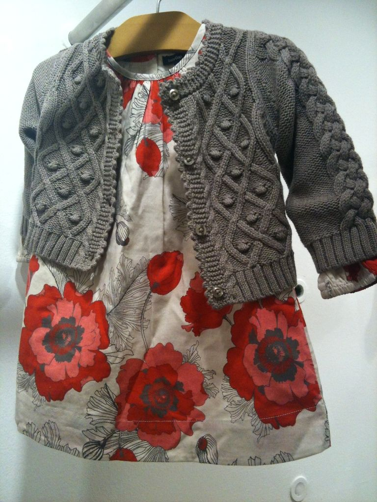 This is adorable!!!! Smaller sized florals in red,cream and black for baby dresses at babyGap with textured knitwear for fall 2013