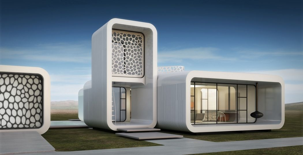 printed office building being built in Dubai