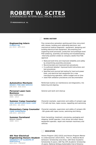 Resume Format For 4th Engineer Resume Format Engineering Resume Sample Resume Format Internship Resume