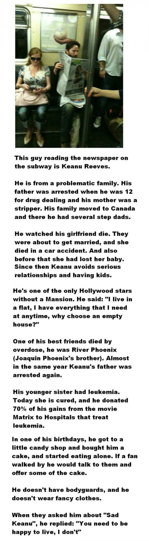 Keanu Reeves. Is this true? Been a fan as long as I can remember...