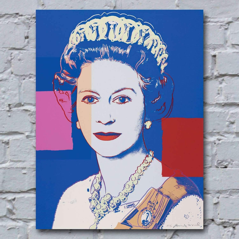 42cm x 55cm andy warhol queen elizabeth ii bluepurple