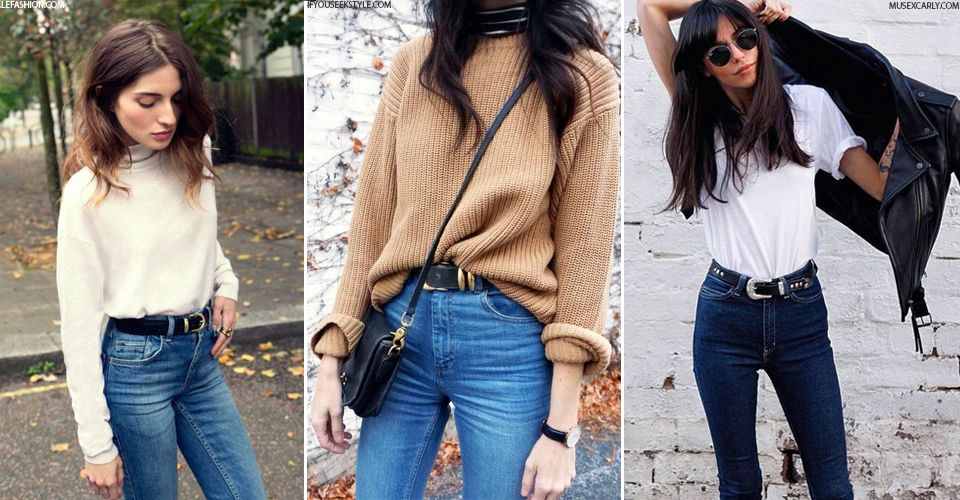 Belts & High-Waisted Jeans Combo | Sweaters, Jeans and Belt