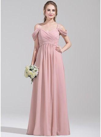 Vestidos princesa/ Formato A Sem o ombro Longos De chiffon Vestido de madrinha com Pregueado