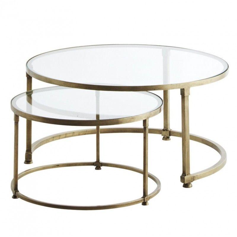 Madam Stoltz 2 Set Satsbord Massing Glas Kaffebord Soffbord Glasbord