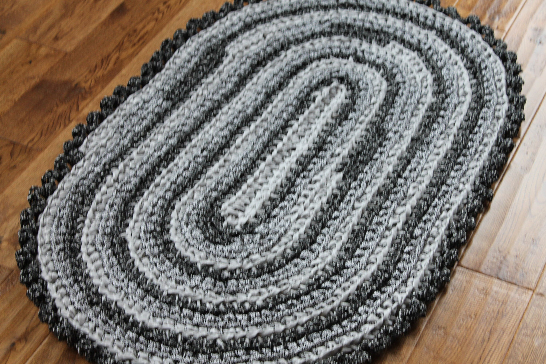 Rag Rug Gray And Black 44 X 28 Crocheted Oval Rag Rug Cottage Chic Decor Shabby Chic Nursery Rug Crochet Rag Rag Rug Crochet Rag Rug Cottage Chic Decor