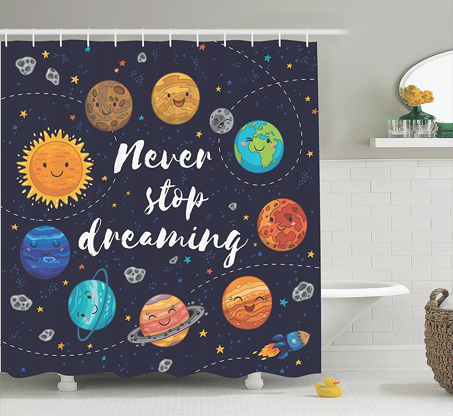 Amazon Com Quotes Decor Shower Curtain Set By Ambesonne Cute Outer Space Planets And Star Cluster Outer Space Planets Outer Space Nursery Outer Space Bedroom Solar system bathroom decor