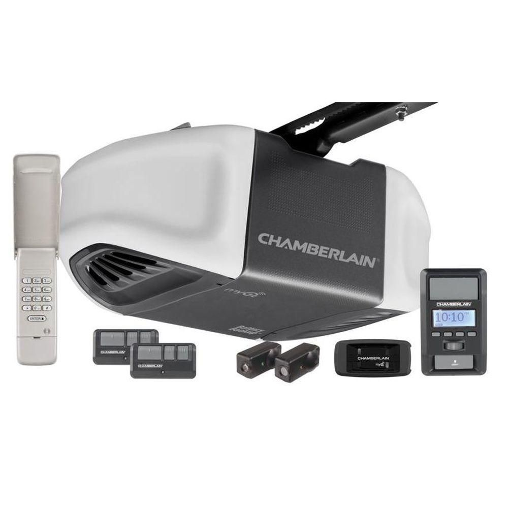 Chamberlain 1 25 Hps Belt Drive Battery Backup Smartphone Ready Garage Door Opener With Myq Technology Hd930ev The Home Depot Garage Door Opener Garage Doors Belt Drive