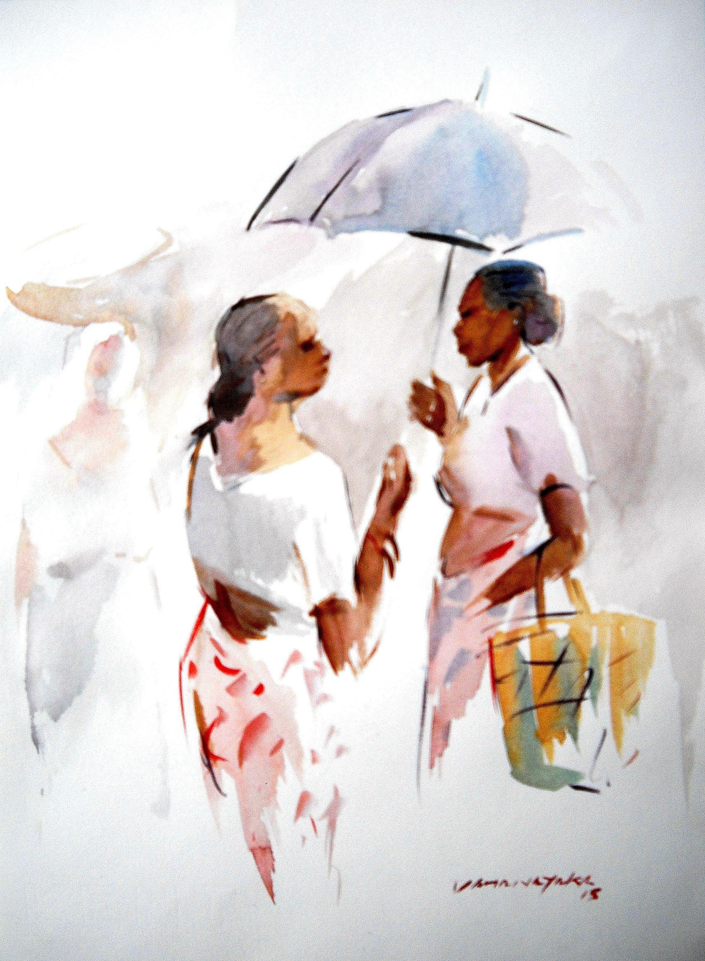 Gossip By Anura Dahanayaka Zilpa Gallery Watercolor Paintings