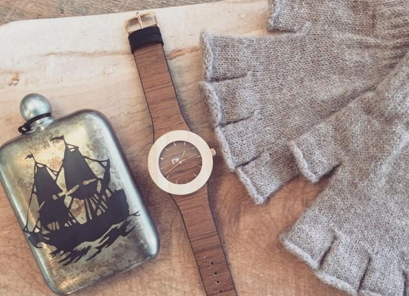 Hand etched flask with wooden watch and fingerless alpaca gloves. #guygear