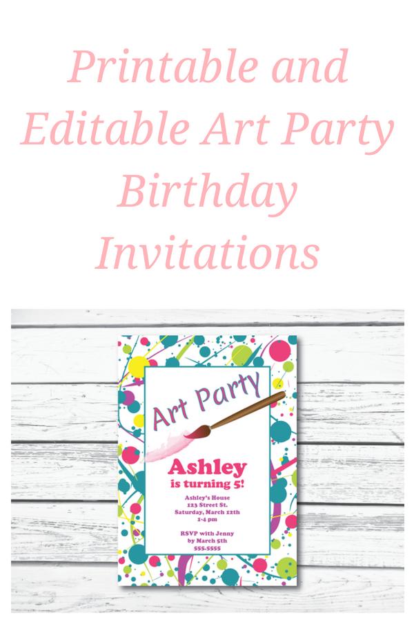 printable art party birthday invitation editable invitation in 2018