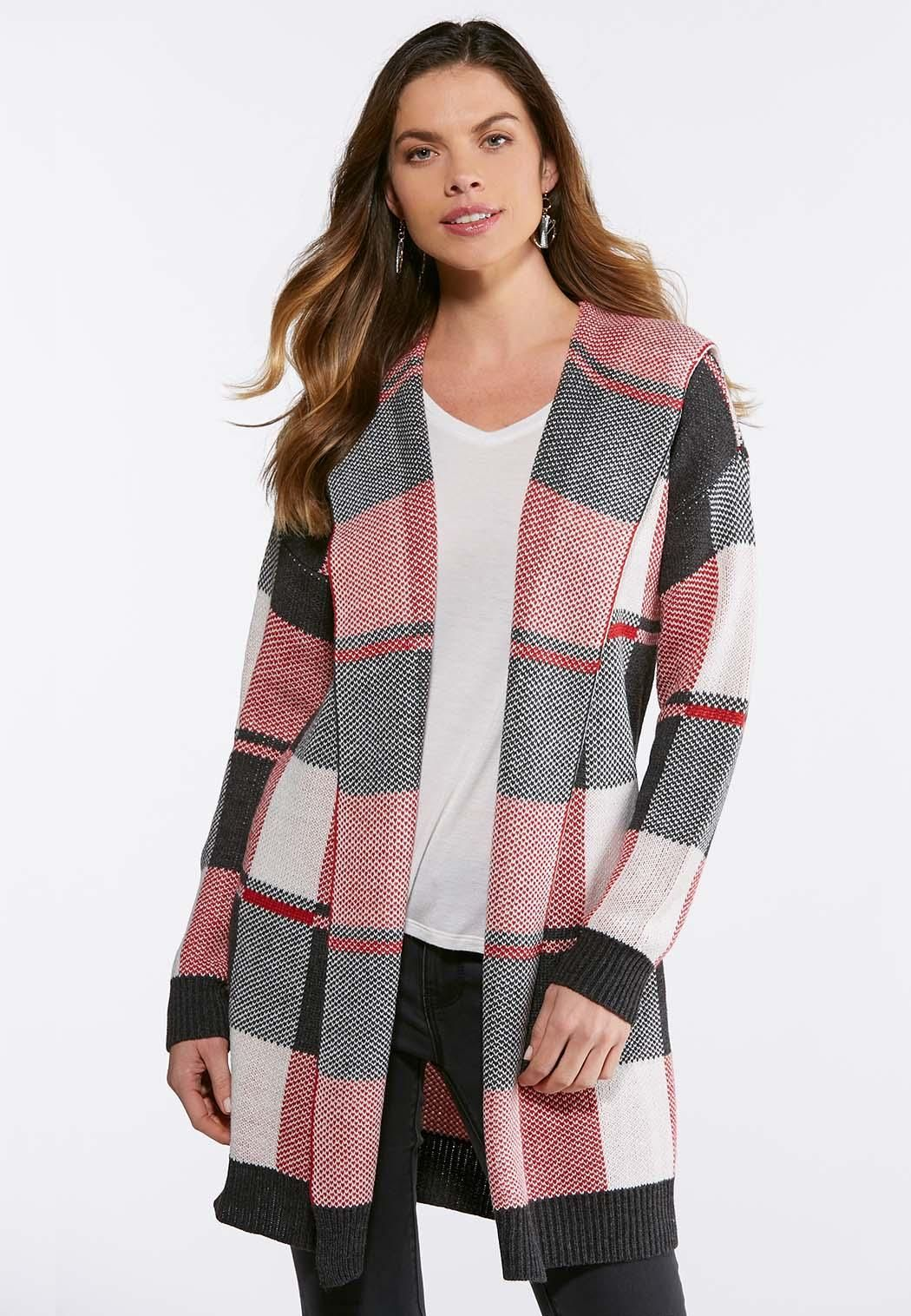 Plus Size Red Plaid Cardigan Catoconfident Fashion Is A Passion