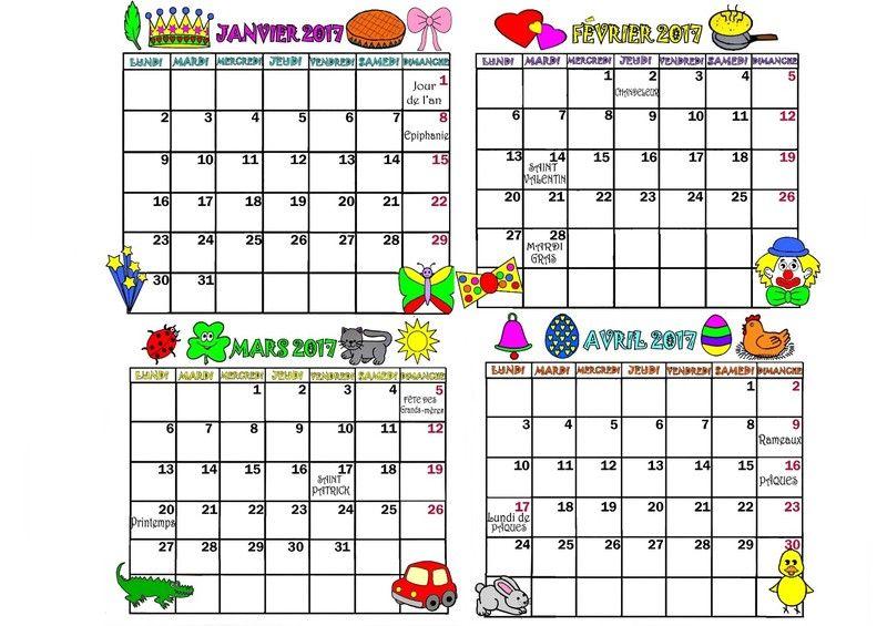 4 mois de janvier a avril en couleur _2. | Calendrier