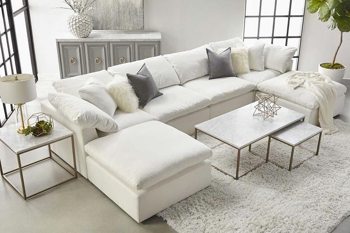 Gorgeous All White Living Room Decor With Restoration Hardware
