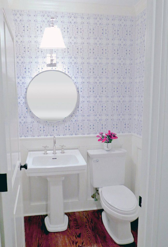 Removable Wallpaper Peel Stick Wallpaper Made In Usa Self Adhesive Temporary Blue And White Wa Powder Room Wallpaper Traditional Bathroom