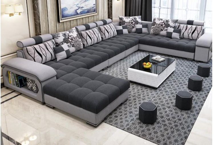 high quality modern nice pictures 7 seater fabric living