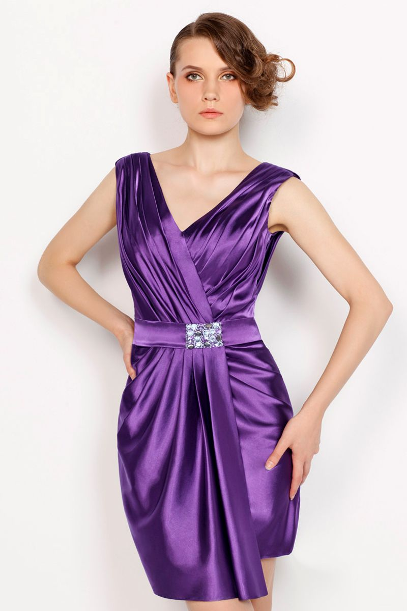 Splendid-V-Neck-Sleeveless-Pleated-Satin-Purple-Cocktail-Dress-with ...
