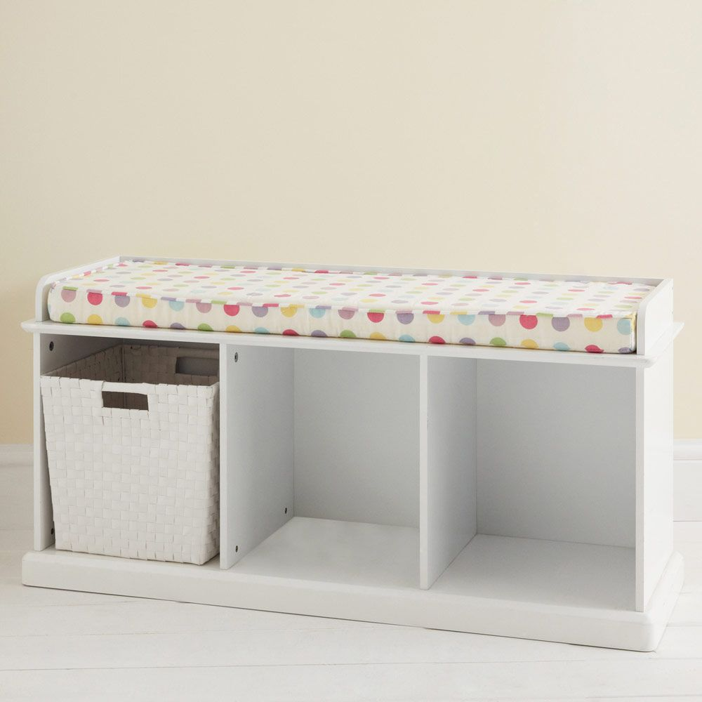 Hallway storage and seating  Abbeville Storage Bench  White with Sorbet Spot Cushion  Hallway