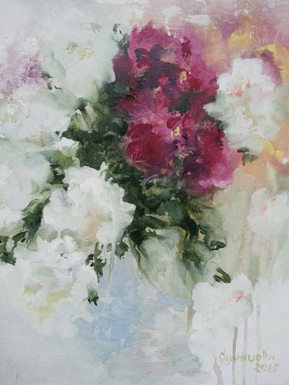 Купить Пионы картина акрил - разноцветный, холст на картоне, акрил, картина, картина цветов