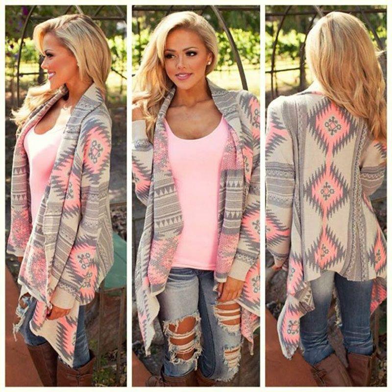 Women Girl Long Sleeve Print Irregular Oversized Cardigan Outwear Coat Outerwear