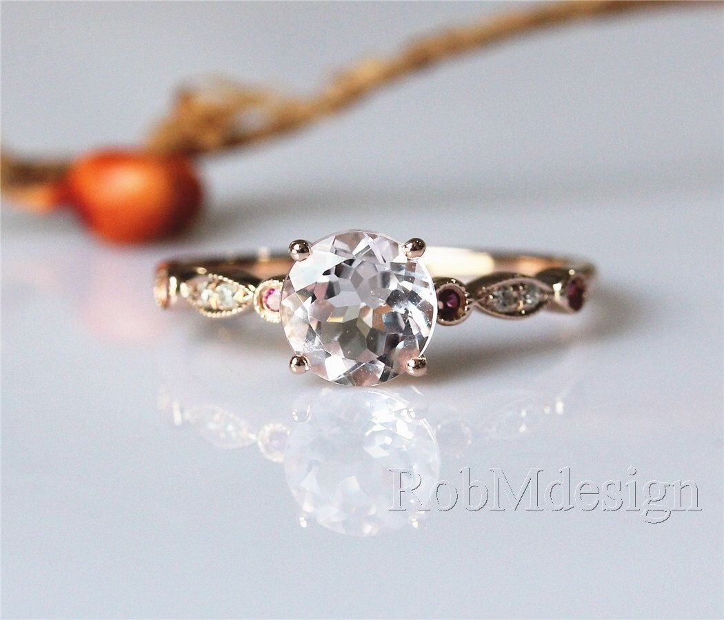 Engagement ring with natural mm morganite and rubydiamond k rose