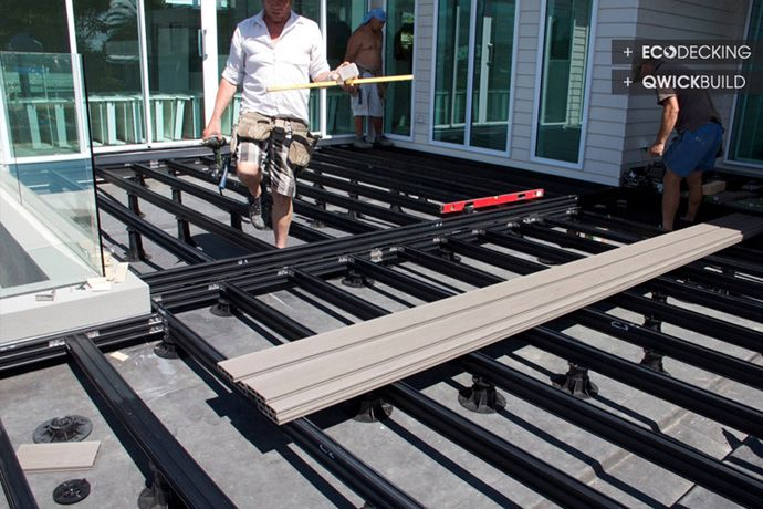 016 11 g eco decking qwick build deck frame materials for Synthetic deck material