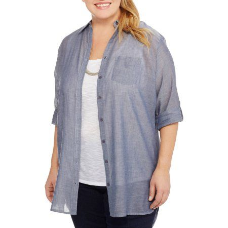 cdb34ce7 Plus Size Brooke Leigh Women's Plus Lightweight Chambray Utility Shirt,  Size: 1XL, Blue