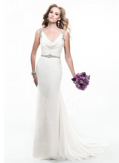 with train chiffon beaded wedding dresses
