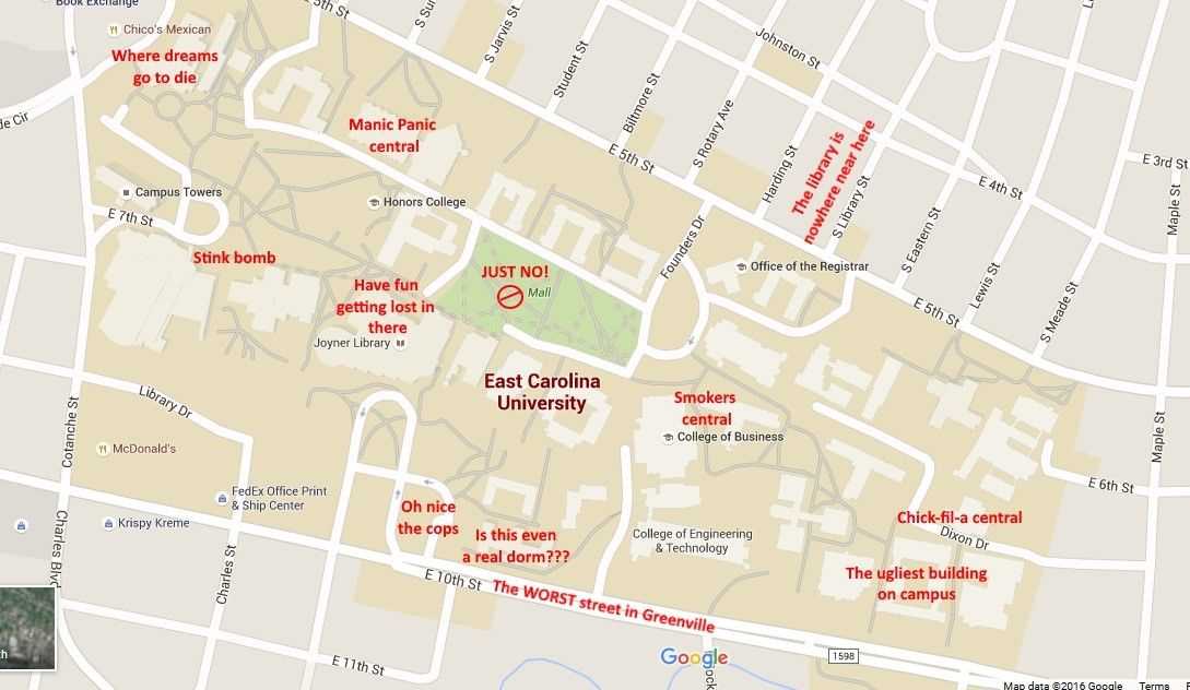 east carolina university campus map A Judgmental Map Of Ecu S Campus Campus Map Honor College east carolina university campus map