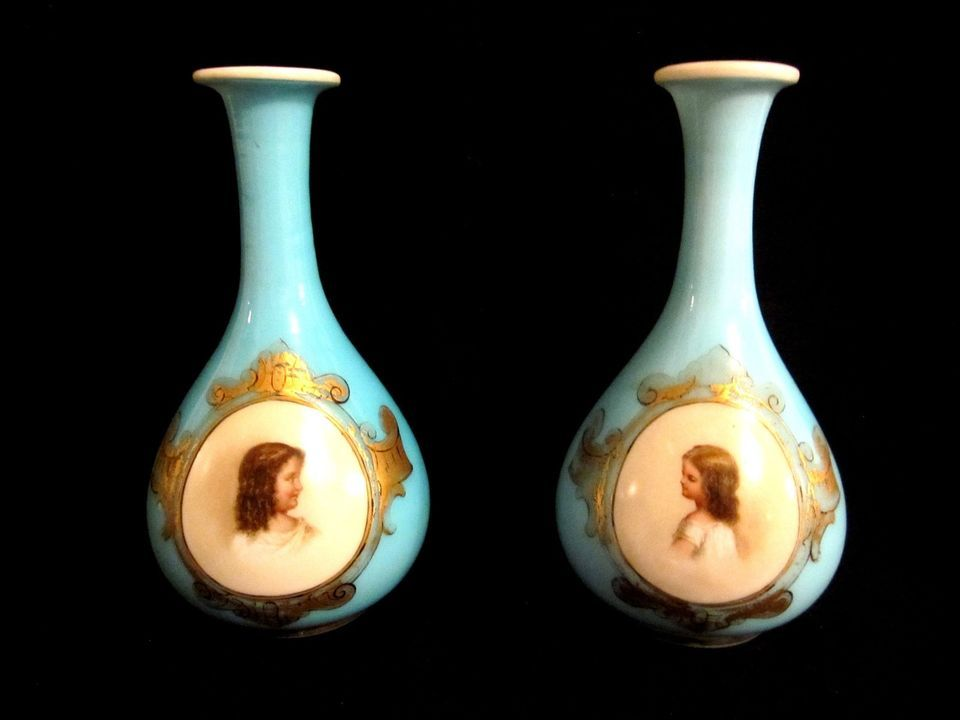 Pair Antique French 2nd Empire Baccarat Blue Opaline Portrait Vase 1850s-60s