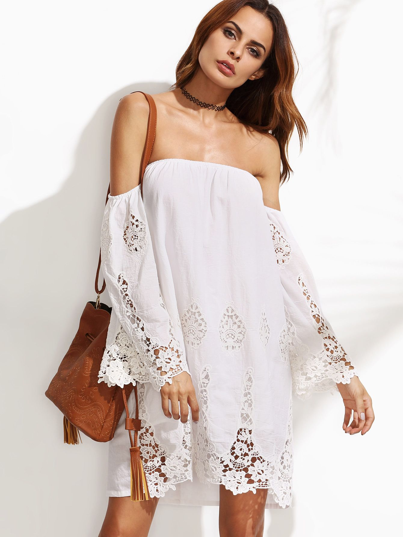93772f80f7 Shop Bardot Crochet Lace Beach Dress online. SheIn offers Bardot Crochet  Lace Beach Dress & more to fit your fashionable needs.